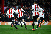 Brentford midfielder Jota (23) celebrates his 2nd goal (score  3-2) during the EFL Sky Bet Championship match between Brentford and Rotherham United at Griffin Park, London, England on 25 February 2017. Photo by Andy Walter.