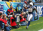 San Diego Chargers tight end Kris Wilson (88) celebrates after catching a second quarter touchdown pass that gives the Chargers a 7-0 lead during an AFC Divisional Playoff game against the New York Jets, January 17, 2010 in San Diego, California. The Jets won the game 17-14. ©Paul Anthony Spinelli