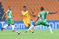 Johannesburg. Gauteng. Kaizer Chiefs player Hendrick Ekstein and Bloemfontein Celtic player Lantshene Phalane  clash during the ABSA premiership at FNB Stadium.<br />