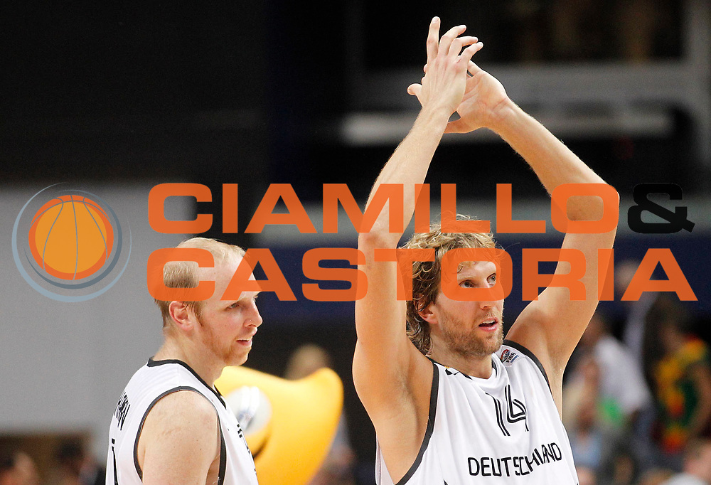 DESCRIZIONE : Vilnius Lithuania Lituania Eurobasket Men 2011 Second Round Germania Turchia Germany Turkey<br /> GIOCATORE : Dirk Nowitzki<br /> CATEGORIA : esultanza<br /> SQUADRA : Germania Germany<br /> EVENTO : Eurobasket Men 2011<br /> GARA : Germania Turchia Germany Turkey<br /> DATA : 09/09/2011<br /> SPORT : Pallacanestro <br /> AUTORE : Agenzia Ciamillo-Castoria/L.Kulbis<br /> Galleria : Eurobasket Men 2011<br /> Fotonotizia : Vilnius Lithuania Lituania Eurobasket Men 2011 Second Round Germania Turchia Germany Turkey<br /> Predefinita :