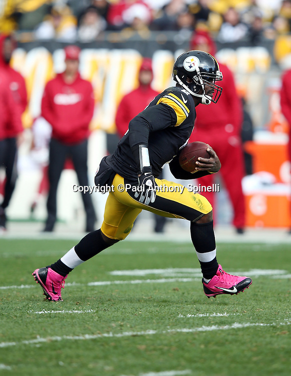Pittsburgh Steelers quarterback Mike Vick (2) runs the ball in the second quarter during the 2015 NFL week 6 regular season football game against the Arizona Cardinals on Sunday, Oct. 18, 2015 in Pittsburgh. The Steelers won the game 25-13. (©Paul Anthony Spinelli)