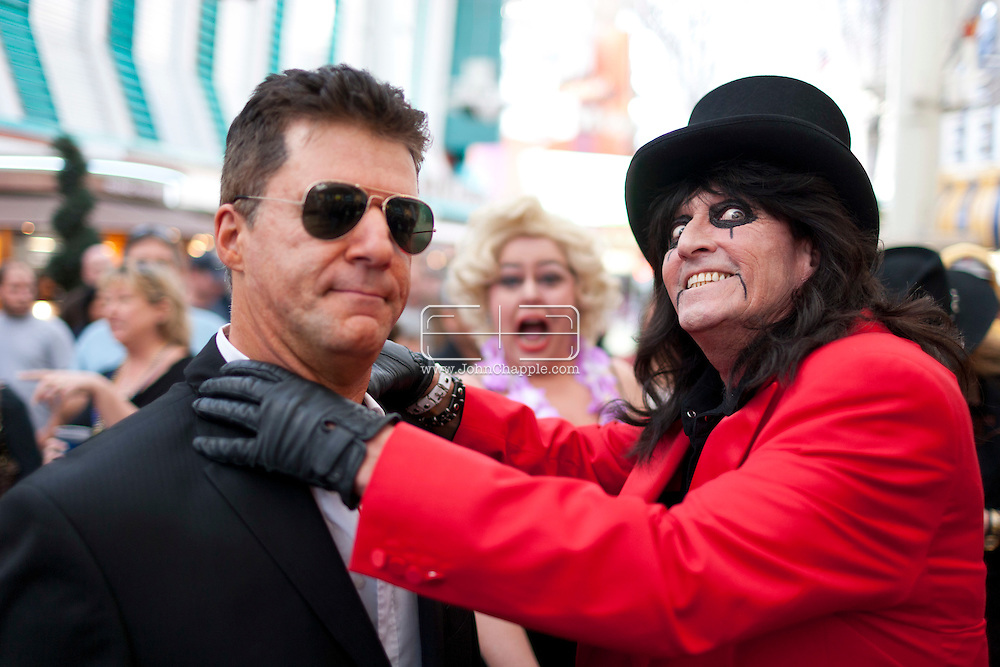 February 20th, 2012, Las Vegas, Nevada. The 21st Annual Reel Awards in Las Vegas where celebrity lookalikes show off their talents. Pictured is Andy Monk as Simon Cowell with Don Green as Alice Cooper..PHOTO © JOHN CHAPPLE / www.johnchapple.com.