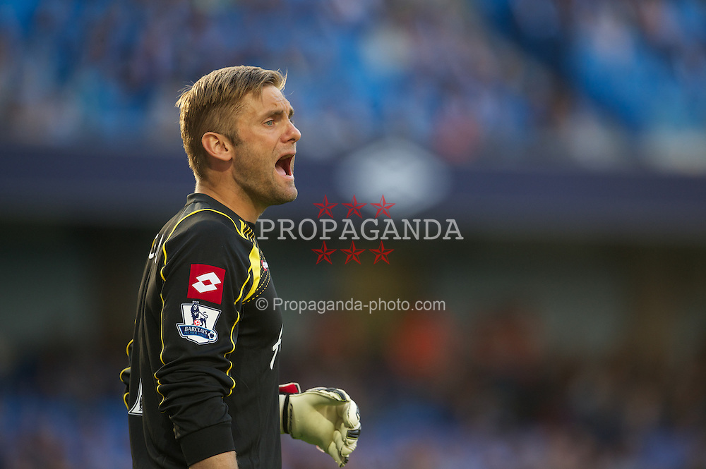 MANCHESTER, ENGLAND - Saturday, September 1, 2012: Queens Park Rangers' goalkeeper Rob Green in action against Manchester City during the Premiership match at the City of Manchester Stadium. (Pic by David Rawcliffe/Propaganda)