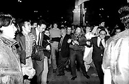 Roma Aprile 1994 .Teodoro Buontempo (Alleanza Nazionale) festeggia la vittoria alle elezioni politiche a piazza del Popolo..Rome April 1994 .Teodoro Buontempo  (National Alliance) celebrates his victory in elections in Piazza del Popolo..