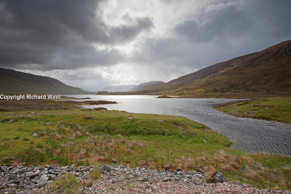 Looking east along Loch Cluanie from the head, where the River Cluanie enters.