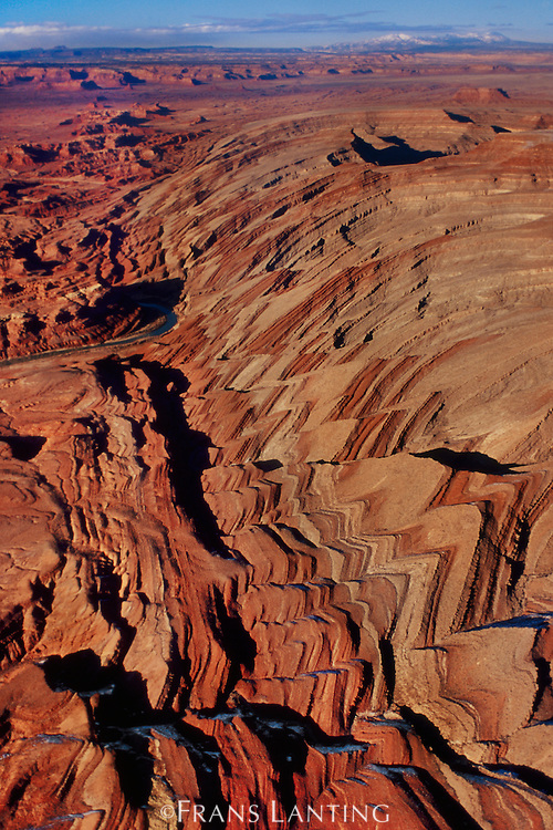 Waterpocket Fold (aerial), Capitol Reef National Park, Utah