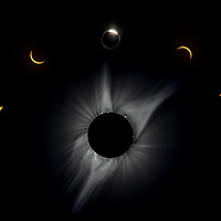 Composite illustrating the phases of a full eclipse, highlighting the corona during full eclipse.