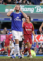 Photo: Paul Thomas.<br /> Everton v Reading. The Barclays Premiership. 14/01/2007.<br /> <br /> James Beattie of Everton can't believe his luck.