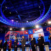 TAMPA, FL -- September 12, 2011 -- The Republican Presidential candidates stand during the National Anthem at the CNN/Tea Party Republican Debate at the Florida State Fairgrounds on Monday, September 12, 2011.  Eight Republican Presidential candidates squared off with host Wolf Blitzer in the battleground state of Florida for the 2012 Election.    (Chip Litherland for The New York Times)
