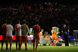 (L-R) Andre Hazes jr, Yolanthe Sneijder-Cabau, Jessey Sneijder, Wesley Sneijder of Holland, Xess Xava during the International friendly match match between The Netherlands and Peru at the Johan Cruijff Arena on September 06, 2018 in Amsterdam, The Netherlands