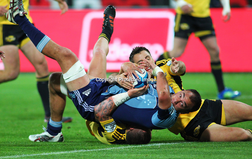 Blues' Chris Lowrey dives for the try line during their Super Rugby match, Hurricanes v Blues, Westpac stadium, Wellington, New Zealand. Friday 4 May 2012.  PHOTO: Grant Down / photosport.co.nz