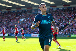 Jonson Clarke-Harris of Bristol Rovers celebrates scoring a goal to make it 1-0 - Mandatory by-line: Robbie Stephenson/JMP - 14/09/2019 - FOOTBALL - Sincil Bank Stadium - Lincoln, England - Lincoln City v Bristol Rovers - Sky Bet League One