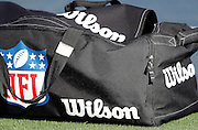 A sports bag lies on the grass before the San Diego Chargers 2016 NFL preseason football game against the San Francisco 49ers on Thursday, Sept. 1, 2016 in San Diego. The 49ers won the game 31-21. (©Paul Anthony Spinelli)