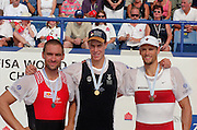 St Catherines, CANADA,  Men's Single Sculls, medals. left Silver medalist, SUI M1X. Xeno MULLER Gold medalist NZL M1X, Rob WADDELL and right Bronze Medalist, Derek PORTER,  awards Dock.  1999 World Rowing Championships - Martindale Pond, Ontario. 08.1999..[Mandatory Credit; Peter Spurrier/Intersport-images]  .. 1999 FISA. World Rowing Championships, St Catherines, CANADA