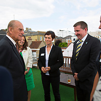 Duke of Edinburgh, Prince Philip, Visits, Island Sailing Club, Cowes Week, Cowes, Isle of Wight, England, UK, 2016, Ellen MacArthur,