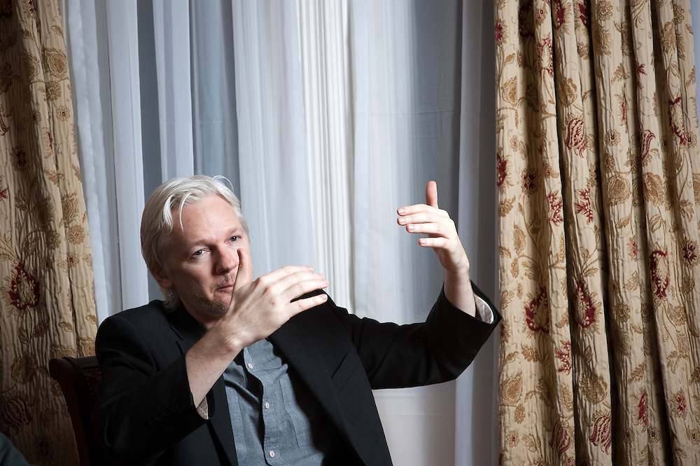Julian Assange, former as the editor-in-chief and founder of WikiLeaks, photographed inside the Ecuadorian embassy in London,  where he has been granted diplomatic asylum.
