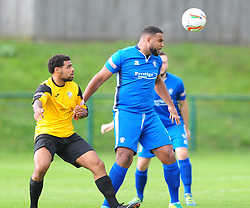 RYAN FRATER AFC DUNSTABLE BATTLES WITH MARLOW JORDACE HOLDER SPOONER,  AFC Dunstable v Marlow FC Evo Stick League South East, Saturday 9th September 2017<br /> Score 2-1:Photo:Mike Capps