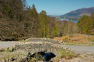 A view over Ashness Bridge toward Derwent Water  Borrowdale, Lake District National Park, Cumbria, UK