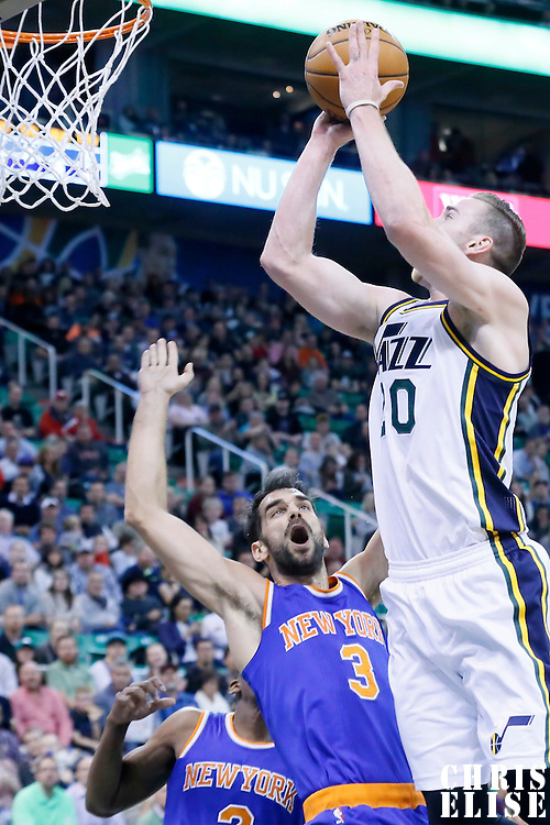 09 December 2015: Utah Jazz forward Gordon Hayward (20) goes for the jump shot over New York Knicks guard Jose Calderon (3) during the Utah Jazz 106-85 victory over the New York Knicks, at the Vivint Smart Home Arena, Salt Lake City, Utah, USA.