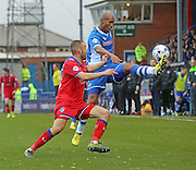 Calvin Andrew & Liam Kelly during the Sky Bet League 1 match between Rochdale and Oldham Athletic at Spotland, Rochdale, England on 24 October 2015. Photo by Daniel Youngs.