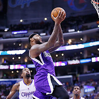 25 October 2013: Sacramento Kings center DeMarcus Cousins (15) goes for the layup during the Sacramento Kings 110-100 victory over the Los Angeles Clippers at the Staples Center, Los Angeles, California, USA.