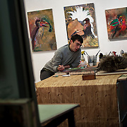 """October 14, 2012 - New York, NY : The artist Giovanni Forlino works in his studio during """"Gowanus Open Studios"""" in Brooklyn on Saturday. CREDIT: Karsten Moran for The New York Times"""