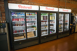 Scenes from Pinterest Headquarters in San Francisco, California. Plentiful drinks are available.