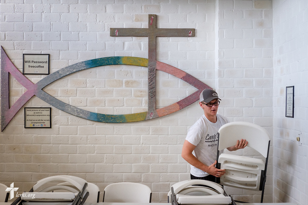 Young Adult Corps participant Paul Mroczenski tends to his work on Tuesday, April 3, 2018, at Camp Restore in Baton Rouge, La. LCMS Communications/Erik M. Lunsford
