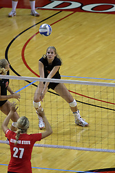 28 AUG 2009: Melissa Richie leans right to get a ball. The Redbirds of Illinois State defeated the Runnin' Bulldogs of Gardner-Webb in 3 sets during play in the Redbird Classic on Doug Collins Court inside Redbird Arena in Normal Illinois