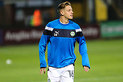 Forest Green Rovers Jack Fitzwater(16) warming up during the EFL Sky Bet League 2 match between Cambridge United and Forest Green Rovers at the Cambs Glass Stadium, Cambridge, England on 26 September 2017. Photo by Shane Healey.