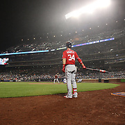 NEW YORK, NEW YORK - July 09: Daniel Murphy #20 of the Washington Nationals batting as Bryce Harper #34 of the Washington Nationals waits on deck during the Washington Nationals Vs New York Mets regular season MLB game at Citi Field on July 09, 2016 in New York City. (Photo by Tim Clayton/Corbis via Getty Images)