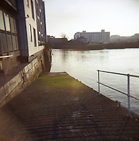Slipway at Grand Canal Docks at the River Liffey docklands in Dublin Ireland