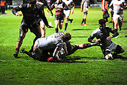 Grant Gilchrist scores try during the Guinness Pro 14 2017_18 match between Edinburgh Rugby and Southern Kings at Myreside Stadium, Edinburgh, Scotland on 5 January 2018. Photo by Kevin Murray.