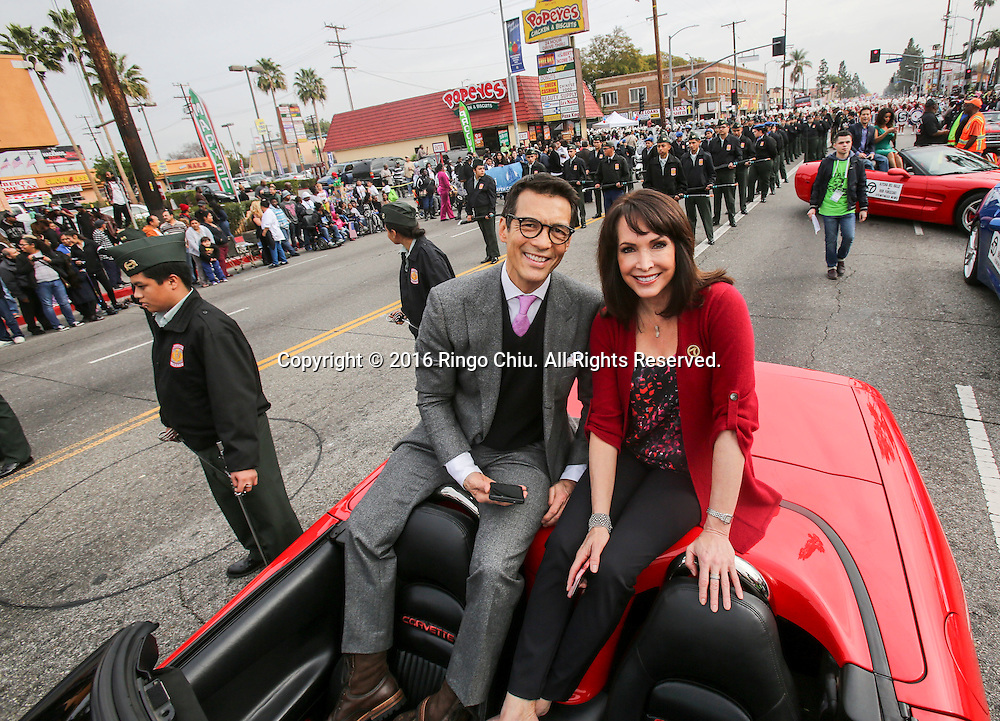 ABC Eyewitness News anchors Ellen Leyva and David Ono make their way down Martin Luther King Blvd. during the Martin Luther King Jr. parade in Los Angeles on Monday Jan. 18, 2016. The 31st annual Kingdom Day Parade honoring Martin Luther King Jr. was themed &quot;Our Work Is Not Yet Done&quot;(Photo by Ringo Chiu/PHOTOFORMULA.com)<br /> <br /> Usage Notes: This content is intended for editorial use only. For other uses, additional clearances may be required.