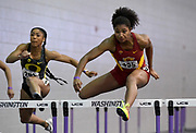 Feb 25, 2017; Seattle, WA, USA; Anna Cockrell of Southern Califrnia places second in women's 60m hurdles in 8.11 during the MPSF Indoor Championships at the Dempsey Indoor.