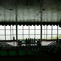 PANMUNJOM, MAY-16: US  soldiers explain the DMZ to visitors in an auditorium in the DMZ.