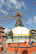 Asia, Nepal, Buddhist prayerflags on a Stupa