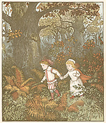 The Babes (or Children) in the Wood. Orphaned Babes taken off to be murdered by ruffians hired by wicked uncle. One ruffian repents and kills other, then abandons Babes who die in the wood and are covered with leaves by robins. Illustration by Randolph Caldecott (1846-86) for the ballad of c1600.