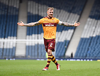 Captain Richard Tait celebrates at full time in the match between Motherwell v Aberdeen, William Hill Scottish Cup (SFA) - Semi-Final at Hampden Park. Saturday 14 April 2018, COLORSPORT