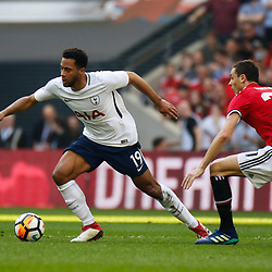 Mousa Dembele of Tottenham Hotspur with Nemanja Matic of Manchester United chasing during the Emirates FA Cup match between Manchester United and Tottenham Hotspur at Old Trafford on April 21, 2018 in Manchester, England. (Photo by Rob Sambles)