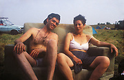 Andy & Michelle on couch, The Mother Festival, Somerset, 1995