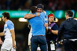 Argentina Lock Guido Petti Pagadizaval celebrates after Argentina win the match - Mandatory byline: Rogan Thomson/JMP - 07966 386802 - 18/10/2015 - RUGBY UNION - Millennium Stadium - Cardiff, Wales - Ireland v Argentina - Rugby World Cup 2015 Quarter Finals.