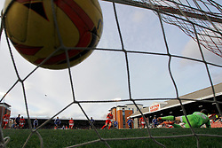 Orient's Lloyd James scores a goal from a penalty agianst Swindon's Tyrell Belford  - Photo mandatory by-line: Mitchell Gunn/JMP - Tel: Mobile: 07966 386802 22/02/2014 - SPORT - FOOTBALL - Brisbane Road - Leyton - Leyton Orient V Swindon Town - League One