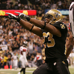 2008 December, 07: New Orleans Saints running back Pierre Thomas (23) celebrates after scoring a touchdown during a 29-26 victory by the New Orleans Saints over NFC South divisional rivals the Atlanta Falcons at the Louisiana Superdome in New Orleans, LA.