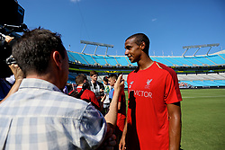CHARLOTTE, USA - Saturday, July 21, 2018: Liverpool's Joel Matip is interviewed by media after a training session at the Bank of America Stadium ahead of a preseason International Champions Cup match between Borussia Dortmund and Liverpool FC. (Pic by David Rawcliffe/Propaganda)