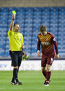 Lee Evans of Bradford City is shown the yellow card by Referee Tim Robinson during the Sky Bet League 1 Playoff Semi-final Leg Two at The Den, London<br /> Picture by Alan Stanford/Focus Images Ltd +44 7915 056117<br /> 20/05/2016