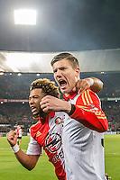 ROTTERDAM - Feyenoord - AZ , Voetbal , Seizoen 2015/2016 , Halve finales KNVB Beker , Stadion de Kuip , 03-03-2016 , Speler van Feyenoord Michiel Kramer (r) en Speler van Feyenoord Tonny Vilhena (l) vieren de 1-0
