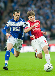 27.02.2011, Wembley Stadium, London, ENG, Carling Cup, Finale, Arsenal FC vs Birmingham City, im Bild Arsenal's Andrei Arshavin and Birmingham City's Keith Fahey In action during the Football League Cup Final match at Wembley Stadium, EXPA Pictures © 2011, PhotoCredit: EXPA/ Propaganda/ Gareth Davies *** ATTENTION *** UK OUT!