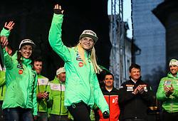 Maja Vtic, Spela Rogelj during reception of Slovenian Winter athletes after the end of season 2015/16, on March 22, 2016 in Kongresni trg, Ljubljana, Slovenia. Photo by Matic Klansek Velej / Sportida