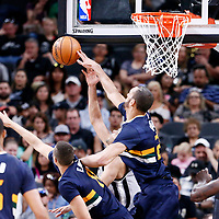 02 April 2017: Utah Jazz center Rudy Gobert (27) blocks  San Antonio Spurs guard Tony Parker (9) during the San Antonio Spurs 109-103 victory over the Utah Jazz, at the AT&T Center, San Antonio, Texas, USA.
